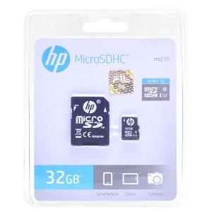 کارت حافظه microSDHC اچ پی مدل Mi210 کلاس 10 استاندارد UHS-I U1 همراه با آداپتور SD ظرفیت 32 گیگابایت